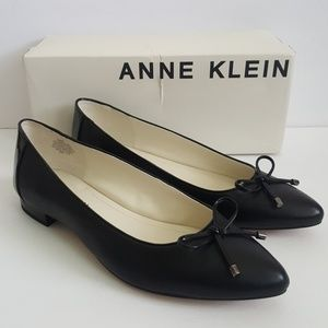 New Anne Klein Odonete Black Leather Flats